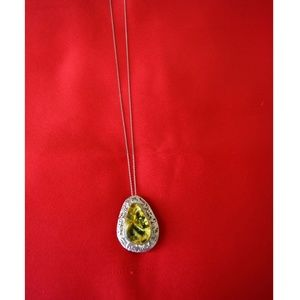 Jewelry - 19K White Gold necklace with Silver Amber Pendant